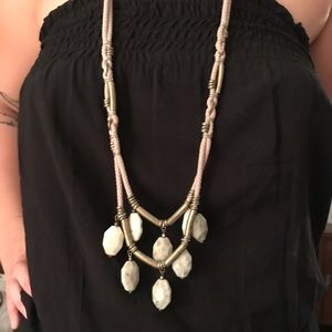 Ann Taylor Rope Necklace with Stones